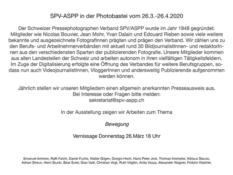 SPV-ASPP in der Photobastei ABGESAGT